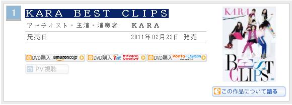 KARA Best Clips - Classement Oricon